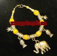 Beaded, Strands China-Tibet Unisex Free Shipping Lovely jewelry Tibet Silver Yellow Jade Elephant Pendant Bracelet