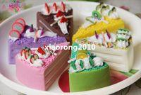 Wholesale 12Pcs cm Length Artificial Fruit Cream Dessert Simulation Bread Triangle Cake Six Colors Food Model Home Decoration Wedding Shoot Props