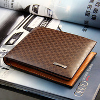 Wholesale 2014 Male Genuine Leather luxury wallet Casual Short designer Card holder Zipper pocket Fashion Purse wallets for men