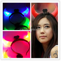 Christmas devil horns - Animal Bull Horns Halloween light up devil horn headband hair clasp flash light for Party