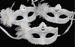 Snow White Mask Halloween mask white flower feather masks Christmas Carnival Festive Event women half facemask