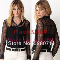 Women Polyester Button S M L Hollow Lace Sexy Turn-down Collar Long Sleeve s Shirts Women Clothing 2014 New Spring Fashion Blusa WC1240