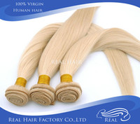 "European Hair Natural Wave Hair Extension Rosa hair products10""-30"" Virgin Brazilian hair Weft 100g pcs Color #613 blonde brazilian hair Straight ,Free Shipping"