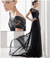 Model Pictures Lace Short Sleeve 2014 Black Long Chiffon Bridesmaid Evening Formal Party Ball Gown Prom Dress Short Sleeves Sheer Lace Jewel Neckline Bridesmaid Dresses