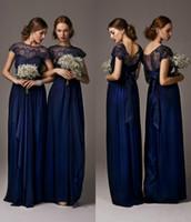Wholesale Chiffon Lace Bridesmaid Dresses Navy Blue Maid of Honor Bride Dresses Sash Sheer Long A Line Beach Bridesmaid Dresses with Cap Sleeves
