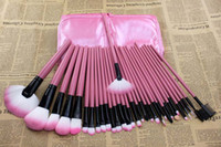 Wholesale Hot Sale Pink Makeup Brush set Professional Cosmetic Brush with leather case Styling Tools K08126