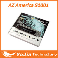 Receivers DVB-S  1pc Az america S1001 Twin Tuner TV Box Full HD with smart card reader and ethernet and USB PVR Digital Satellite Receiver Free Shipping