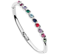 Tennis alloy gemstone bracelet - Austrian crystal Gemstone Tennis bracelet Sterling Silver Swarovski Crystal Elements jewelry a493