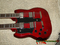 Solid Body 12 Strings Mahogany Red DES1275 Left Handed Double Neck Electric Guitar Wholesale Guitars Free Shipping