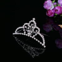 Tiaras&Crowns Rhinestone/Crystal  Cheap Wholesale Tiaras & Hair Accessories 2014 Crystal Bridal Accessories Comes with Comb Fashion Exquisite