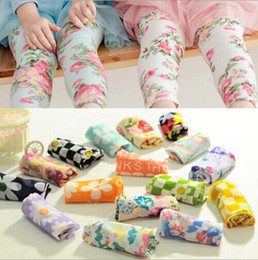 Wholesale girl s Soft gauze environmental protection printing children Leggings girls seven minutes of pants MAY289