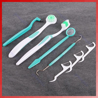 Adults SD1318 Toothbrush Set of 8 Pieces Dental Care Toothbrush Kit Floss Stain Tongue Picks Teeth Denticlean Free Shipping