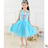 Wholesale Summer Children Frozen Girl Dresses Princess Skirt Lace Flower Tutu skirts Girl Party Dresses girls Cartoon Printing Dress cm cm