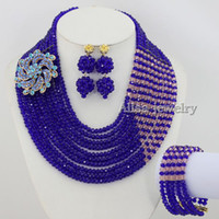 Bracelet,Earrings & Necklace African Women's High Quality African Costume 10 Layers Crystal Beads Wedding Jewelry Sets,Blue Crystal Necklace,Wedding Gift,Statement Necklace