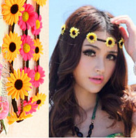 Wholesale Multi color Bohemian Flower Headband Festival Wedding Floral Garland For Women Beach Braided Leather Elastic Head Wrap Daisy Head Bands