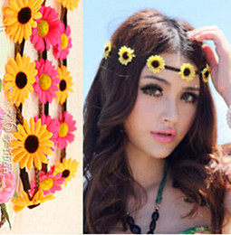 Multi-color Bohemian Flower Headband Festival Wedding Floral Garland For Women Beach Braided Leather Elastic Head Wrap Daisy Head Bands