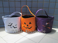 Wholesale Special Witch Or Pumpkin Face Or Bat Printing Microfiber Halloween Holiday Bucket