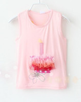 Wholesale 2014 Summer Girls Sweet Cake Vest Tops Korean Kid s Cute Candle Sleeveless Shirt Children Lovely Pleated Tulle Tank T shirts I1137