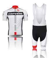 Wholesale Team Cycling Jersey Sets CerVelo NEW Men Bike Bicycle Cycling Jersey Bib short Breathable Quick Dry Riding Clothing Padded Shorts White