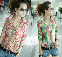Women chiffon Polo New Button collar chiffon Shirt blouse fashion Women Casual full Flower floral print half Sleeve blouse Top shirt