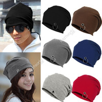 Cotton polyester blended winter hat - Best Sales Fashion Unisex Women Men Winter Ski Hat Slouch Baggy Hip Pop Knit Crochet Cap Beanie Fx271