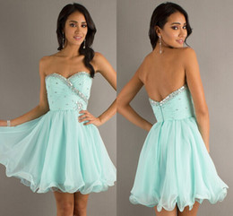 Wholesale Sweetheart Aqua Homecoming Dresses Chiffon Tulle Bling Bling Crystals Beaded Sequins Short Prom Gowns Gorgeous Under Party