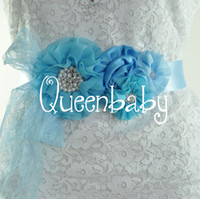 belt aqua color flowers - Aqua Sashes Kids Flower Sash Belts Matching Shabby Chiffon Lace Satin Flower Maternity Bridal Sashes QueenBaby