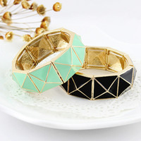 Wholesale New Fashion Jewelry Graceful Punk Geometric Black and Green Color Elastic Enemal Bracelet
