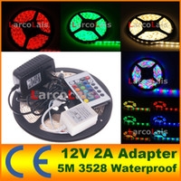 Wholesale 2A Power Adapter M Roll SMD Waterproof LED M LED Warm Cool White Red Green Blue Yellow RGB Flexible LED Strip Light
