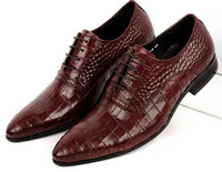 Wholesale New head layer cowhide imitation alligator grain high end men s dress shoes British tide pointed business shoes wedding shoes