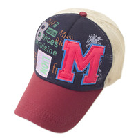 Fashion M letter Snapback Baseball Cap Unisex Casual Hat