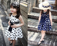 TuTu Summer Sheath Casual Korean Style Girls Polka DOT Princess Sleeveless Dress Bowknot Dress Clothes 3-12T children clothing girls dress + Express Services