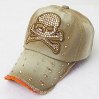 Womens Rhinstone Skull Snapback Peak Baseball Cap Hat
