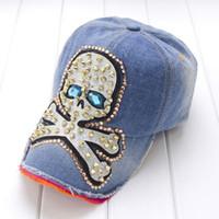 Womens Rhinstone Punk Rivet Skull Snapback Baseball Cap Hat