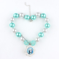 Wholesale Cute Frozen Necklace Summer Accessories Acrylic Solid Chunky Beads Frozen Cabochons Cameo Flatback Fashion Necklace