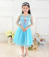 Casual Dresses Round A Line 2014 Frozen Dress Movie Cosplay dress summer girl dress Princess Elsa Dress