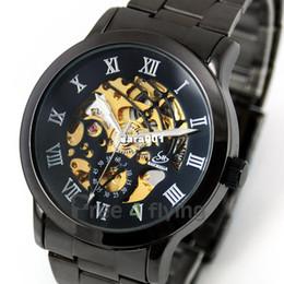 Promotion cru mens watch automatique Gros-2014 Vintage style titane noir mens montres squelette mécanique automatique Mens Vintage