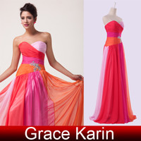 Wholesale Cheap Price Grace Karin New Strapless Sweetheart Chiffon Ruched A Line Long Ball Gown Evening Prom Party Dress Sizes Blue Red CL6069