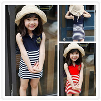 TuTu Summer A-Line 2014 Summer new Korean children's clothing wholesale baby girls striped skirt embroidered sleeveless lapel chest