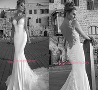 Wholesale 2014 Galia Lahav Chiffon Lace Bridal Gowns Spaghetti Sweetheart Backless Lead to a Mermaid Court Train Summer Beach Wedding Dresses GL1413