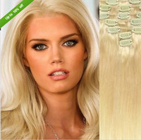 Wholesale 7A grade peruvian clip in hair extensions natural color straight remy virgin human hair g pack