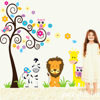 Wholesale Owl Wall Sticker for Kids Rooms Decoration Giraffe Anime Poster Tree Baby Wall Stickers Decals Home Decor Zebra Wallpaper Kid