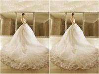 Wholesale Diyouth Custom Made Strapless Wedding Gowns Fitted Bodice Rhinestone Ball Gown White Lace Organza Zipper Wedding Dresses