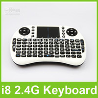 Wholesale Mini i8 Rii G Wireless Game Keyboard PC Remote Controls Portable With Touchpad Keyboards Keys for Andriod TV Box Tablet PC Free DHL