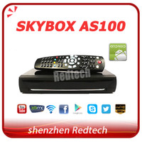 Receivers DVB-S ARM Cortex-A9 1GHz Dual Core Original Skybox AS100 Android DVB-S2 receiver Card Sharing Combine Android TV Box digital HD Satellite receptor decoder fedex free shipping