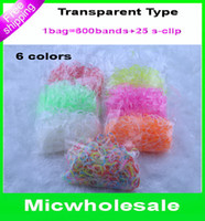 Wholesale New arrival clear transparent rainbow loom Rubber band refill crystal colorfull loom bands for DIY charm bracelet band clip