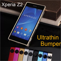 Wholesale Ultrathin Metal Bumper Case for Sony Xperia Z2 No Screw Aluminum Slim Frame Protect Cover Retail Package
