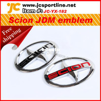 Wholesale option Black amp Red ABS Chrome Scion Steering JDM Emblem sticker car Badge Scion log for North America Toyoto tC xA xB xD pc