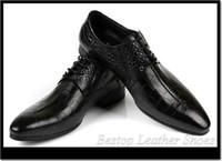 Wholesale Bestop men leather shoes alligator cowhide leather men dress shoes pointed lace men oxfords shoes leather