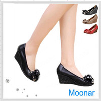 Half Boots Women Summer women's wedges high heel shoes Elegant female PU Casual shoes with Bowtie sandals XZ300